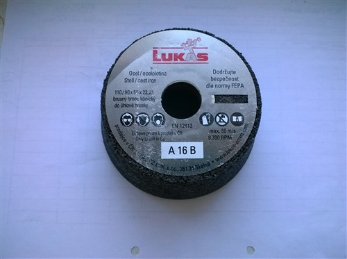 Hrncový brusný kotouč na ocel 110/90x55x22 mm A16B (hrubost zrna 16) - skladem 6 ks